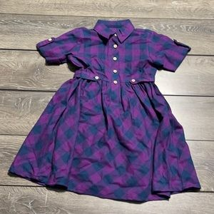 Ruffle Butts Purple and Navy Blue Plaid Button Detailed Dress Girls' Size 6